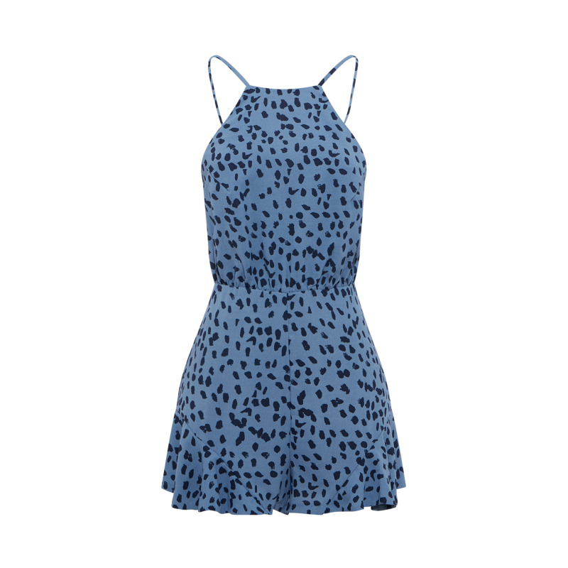 PRINTED PLAYSUIT WITH RUFFLES