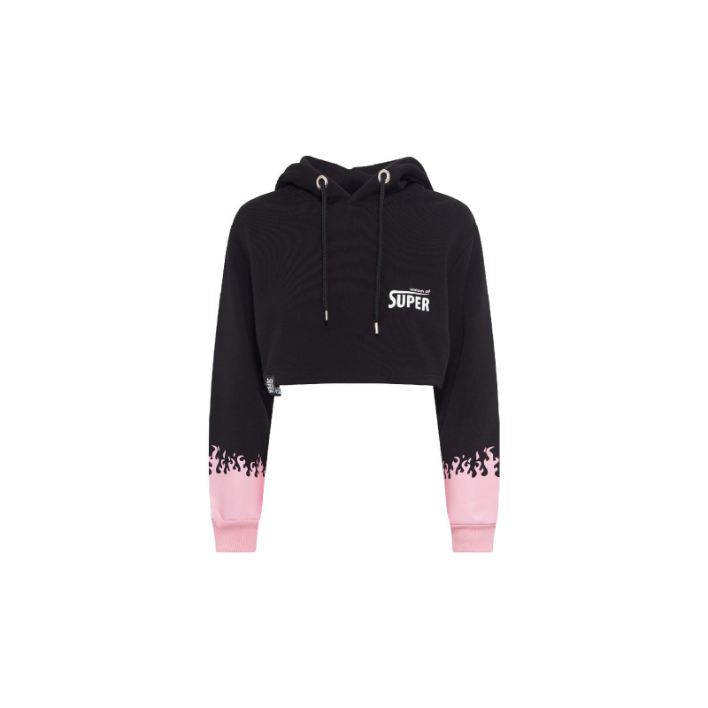 CROPPED HOODIE WITH FLAMES