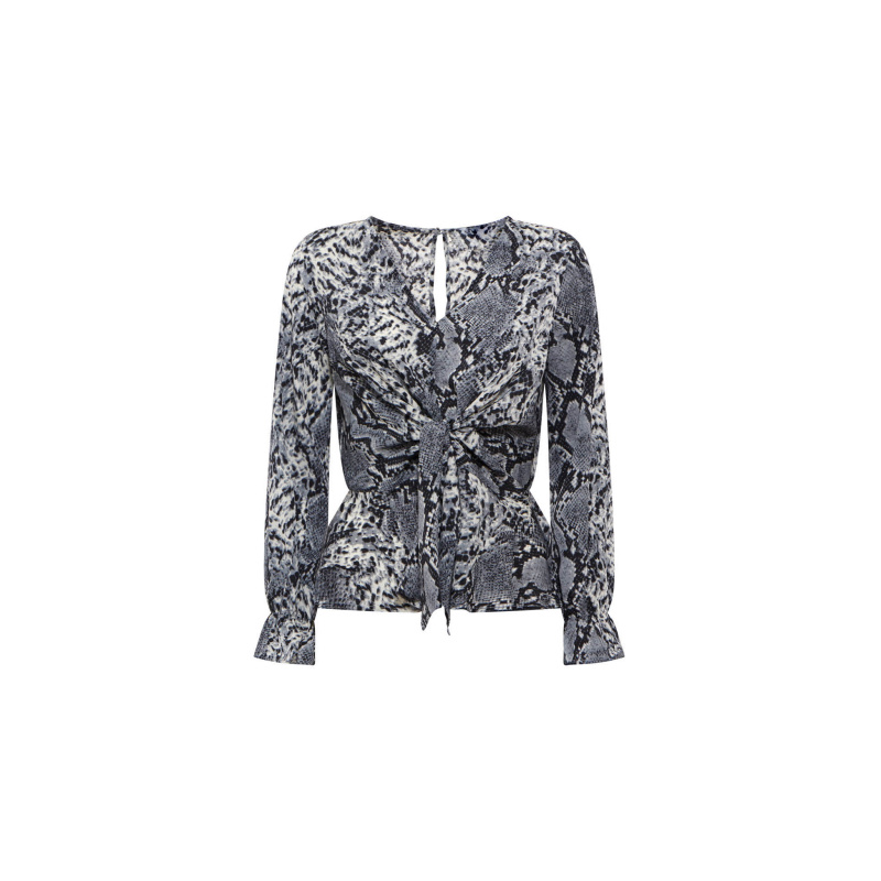 SNAKE PRINT TOP WITH KNOT