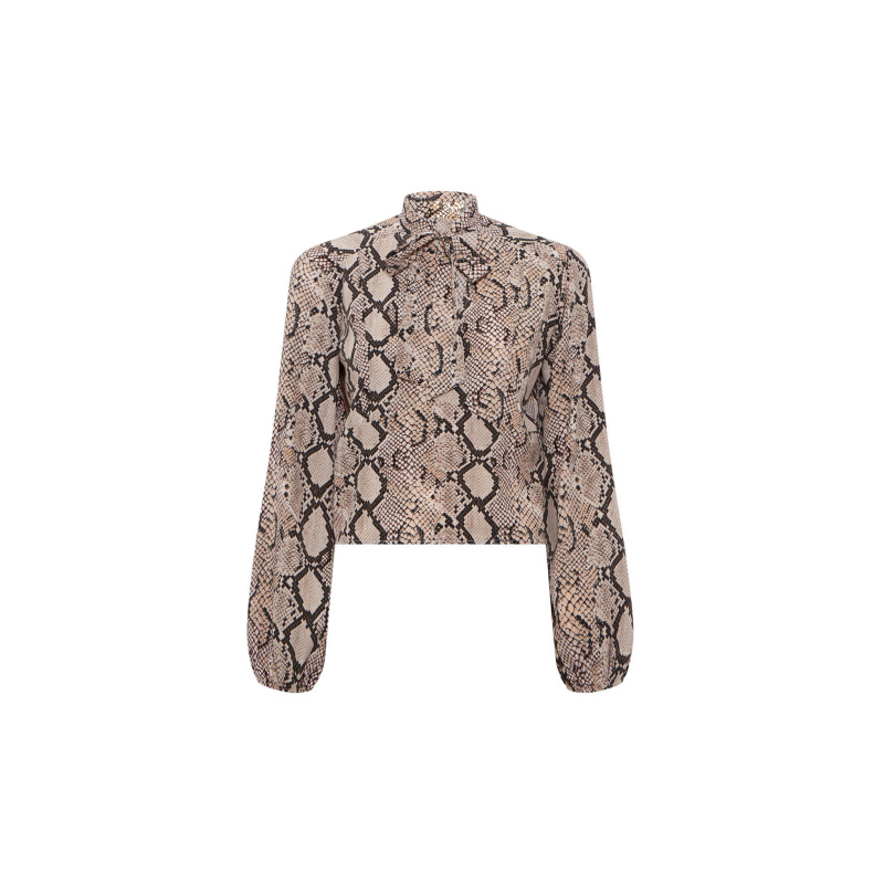 SNAKE PRINT TOP WITH BOW