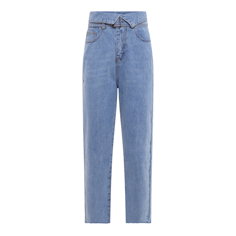 JEANS WITH FOLD-OVER WAIST