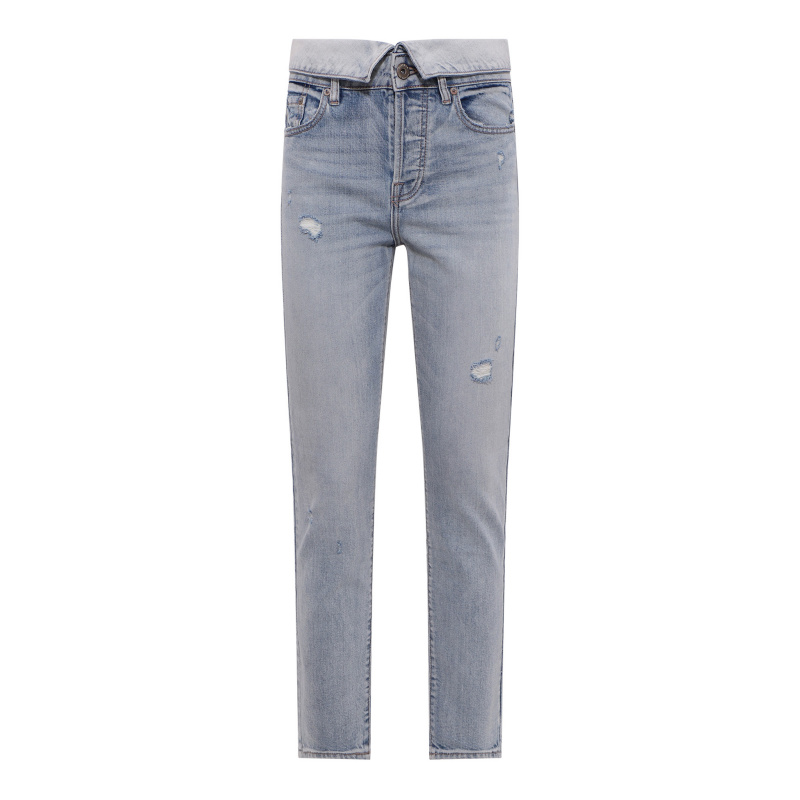 HIGH RISE JEANS WITH A FOLD...