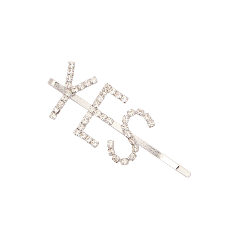 HAIRPIN YES LOGO WITH CRYSTALS