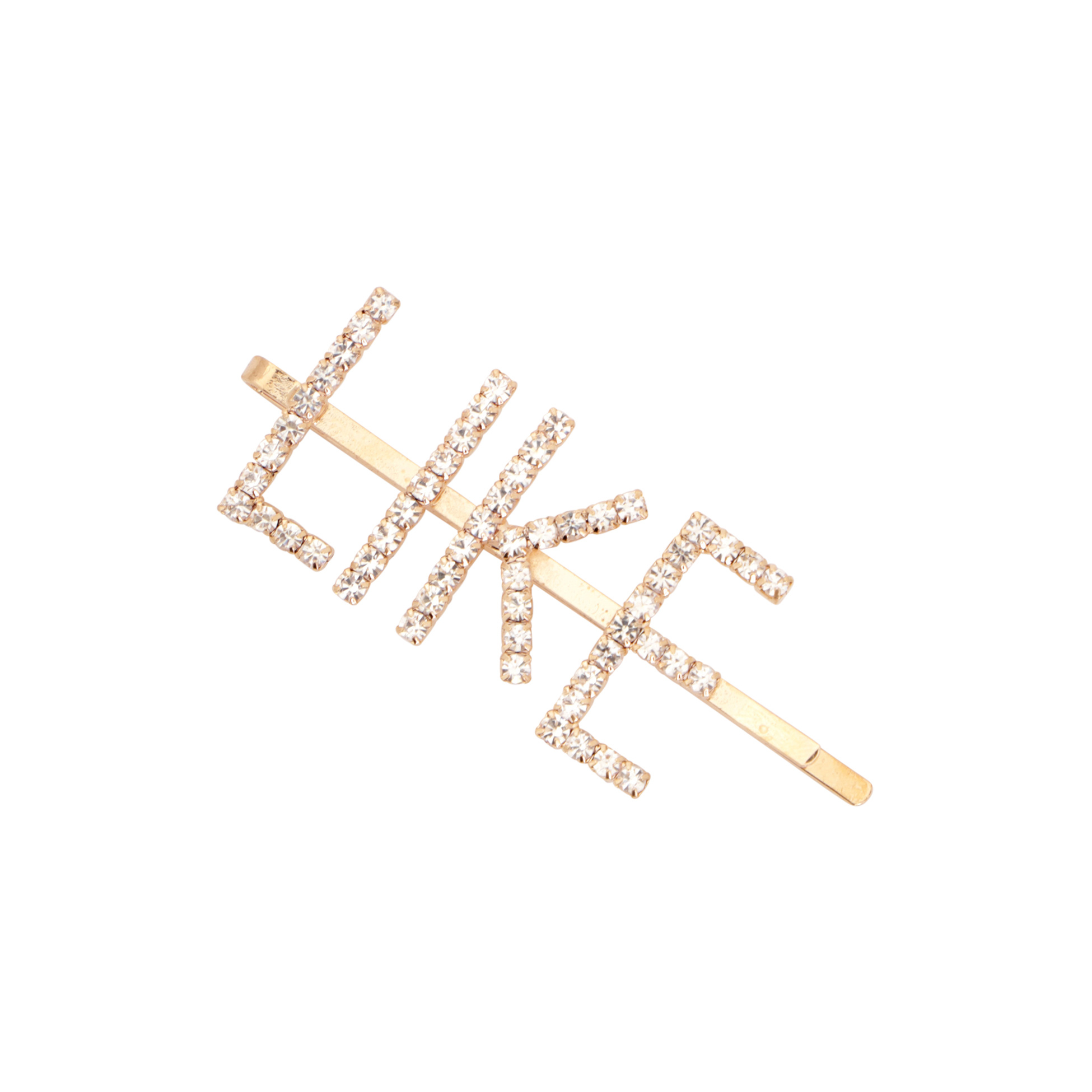 HAIRPIN LIKE LOGO WITH CRYSTALS