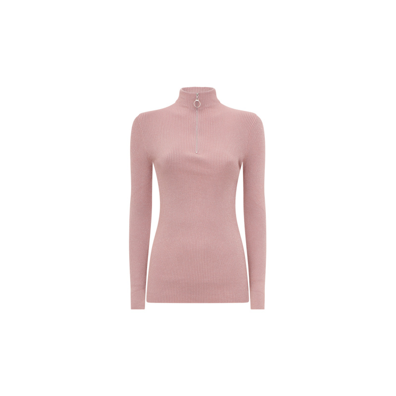 LUREX TURTLENECK TOP WITH ZIP