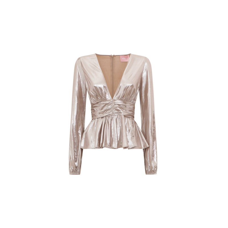 METALLIC TOP WITH RUFFLE
