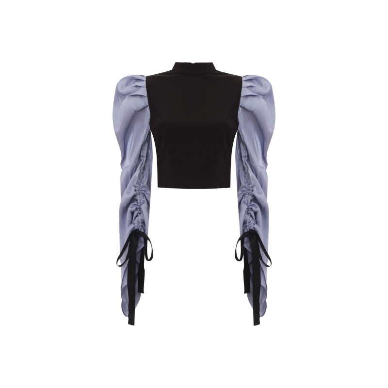 TOP WITH CONTRAST WIDE SLEEVES