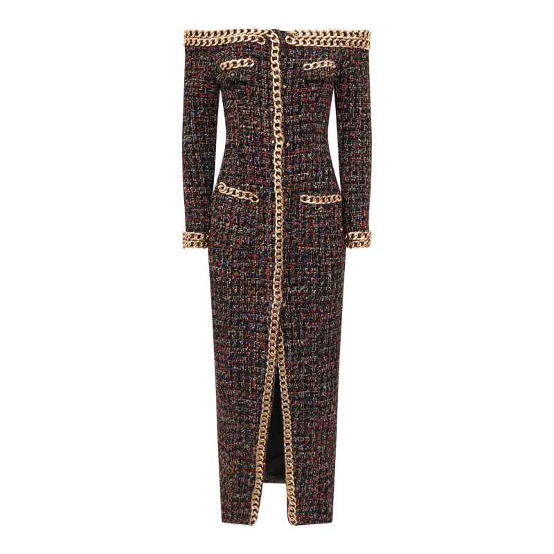 TWEED MIDI DRESS WITH CHAINS