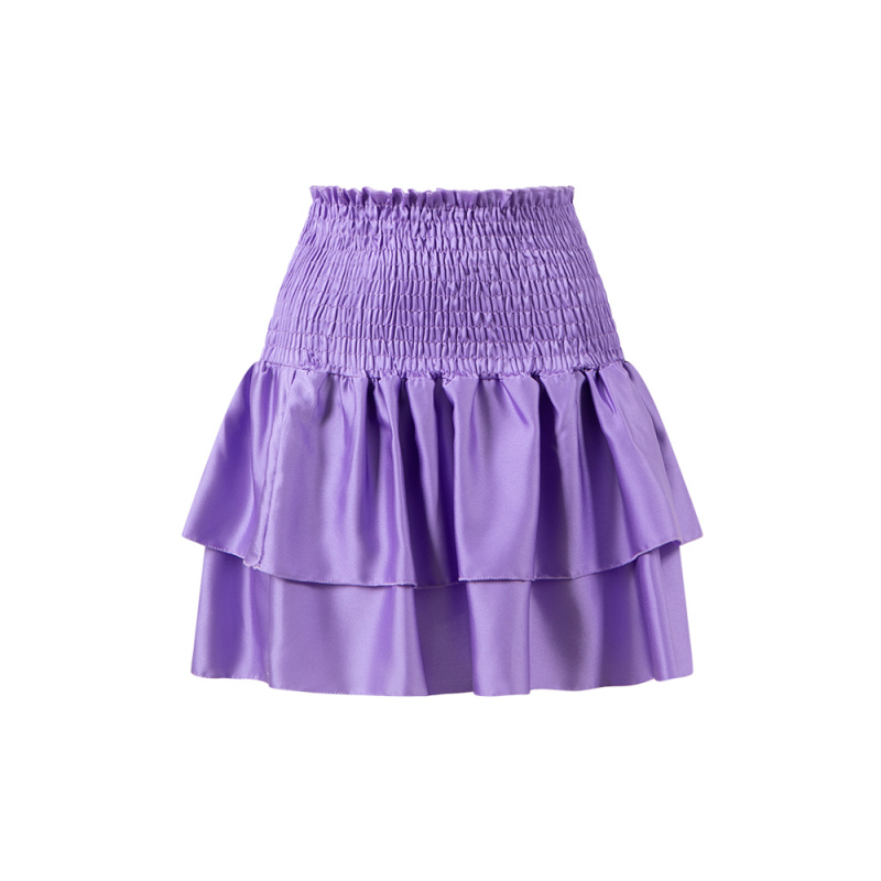 RUCHED MINI SKIRT IN SATIN