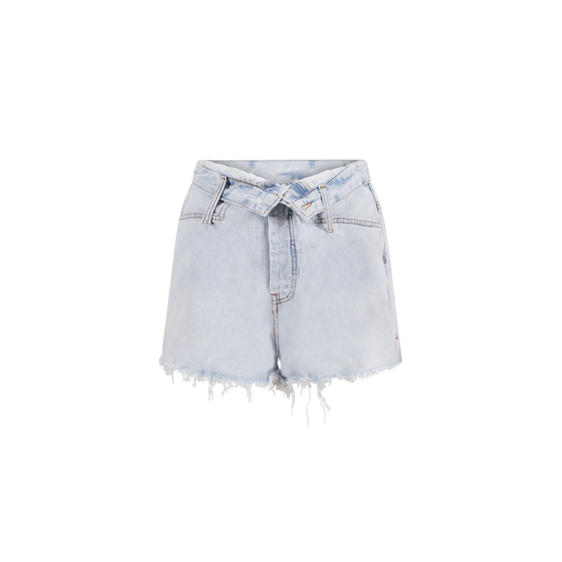 FOLD-OVER DENIM SHORTS