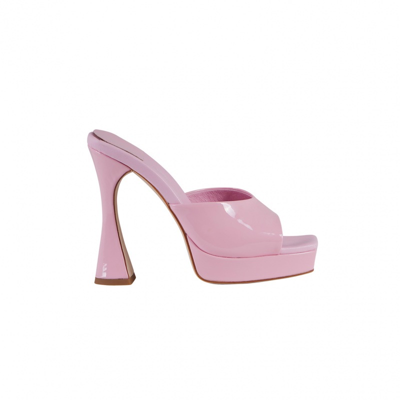 PINK PATENT MULES