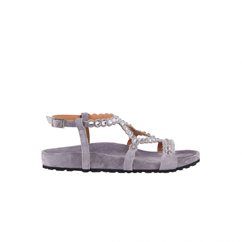 FLAT VELOUR SANDALS WITH...