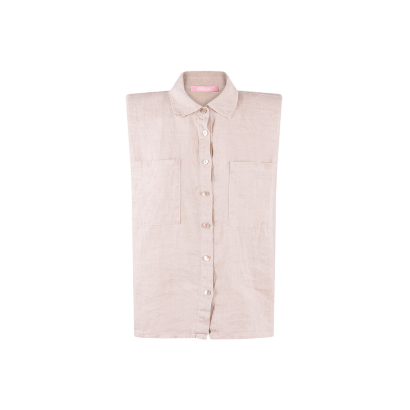 LINEN SHIRT WITH PADDED...