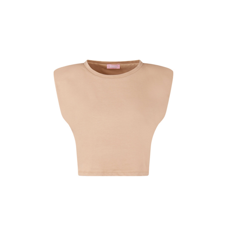CROP TEE WITH PADDED SHOULDERS
