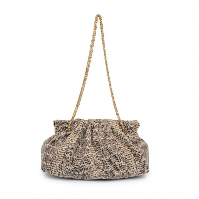 SNAKE EMBOSSED POUCH BAG