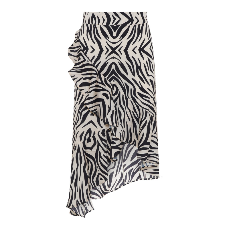 WRAP MIDI SKIRT WITH FRILL