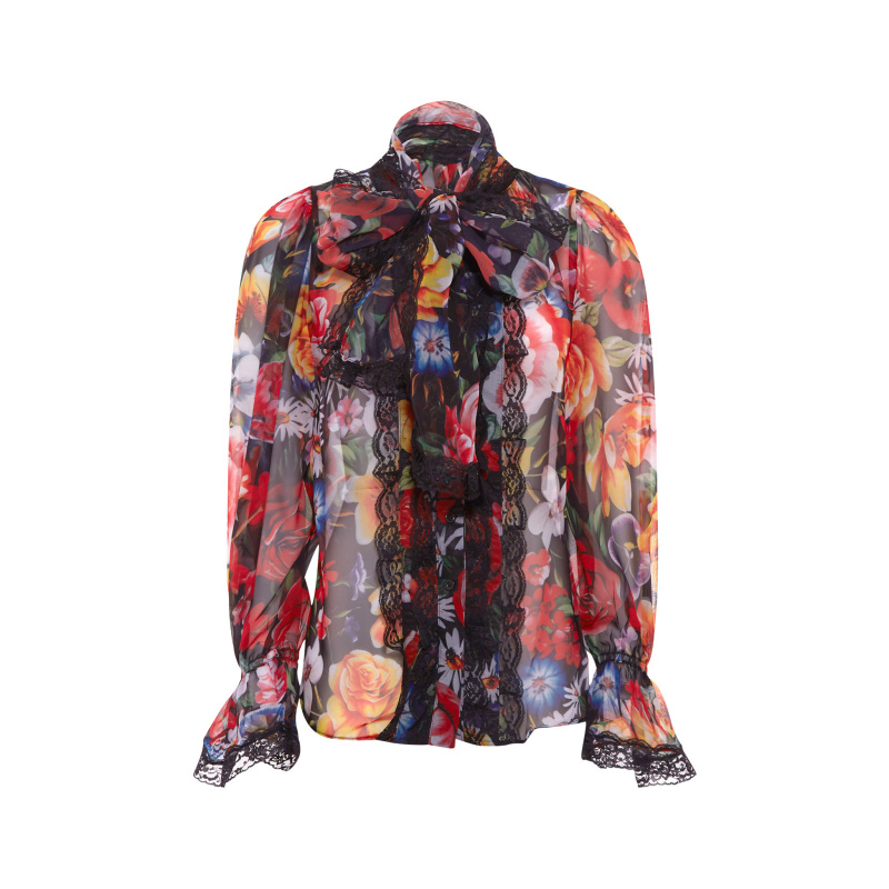 FLORAL SHIRT WITH BOW